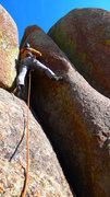 Rock Climbing Photo: Climber starting up Jim Jam Junior.