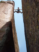 Rock Climbing Photo: Stemming near the top of the route!