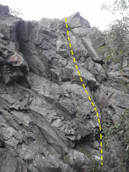 Rock Climbing Photo: Shindig follows the three bolts up the left side o...