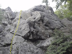 Rock Climbing Photo: Thinline climbs the lower angled face to the left ...