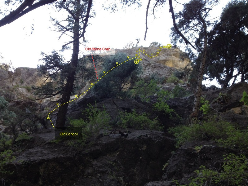 Belay at base of tree on natural ledge.  Notice that Old School (route) splits off to the right.  Traverse to P2 belay shown.  P2 is a straighter line than appears from this angle (despite P2 looking deformed, there is little to no rope drag on this pitch).