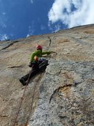 Rock Climbing Photo: Aaron starting up the slightly scary P1....