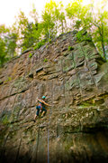 Rock Climbing Photo: Sarah leading Dimples on the Main Flow wall during...