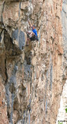 Rock Climbing Photo: Finishing the first roof. Defenseless Betty (5.12a...