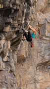 Rock Climbing Photo: Chrissy pulling the crux roof Standing on the Edge...
