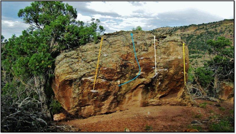 Rock Climbing Photo: Liquid Sunshine problem beta in blue.