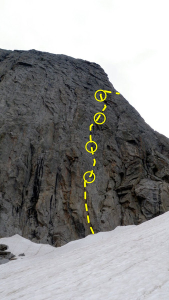 The first 5 pitches of the route