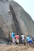 Rock Climbing Photo: Dogging a bit on the FA with the peanut gallery in...