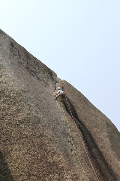 Rock Climbing Photo: Cruising the tight hands section near the top...