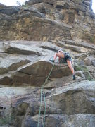 Rock Climbing Photo: Kira leads FTGC doing the left start prior to the ...