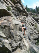 Rock Climbing Photo: Kira does the right start prior to the 1st bolt be...