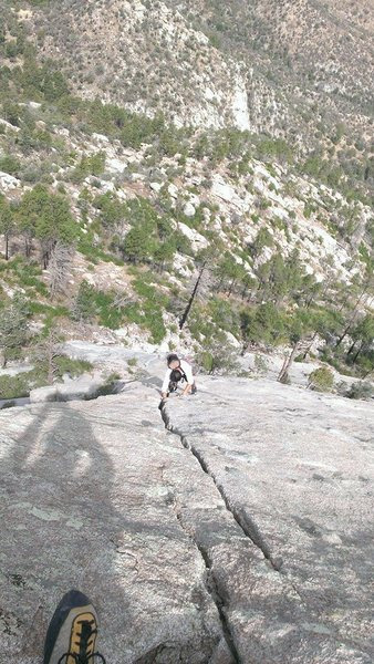free solo looking down at adam cruising the amazing crack pitches