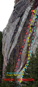 Rock Climbing Photo: The yellow line is Revely-Hunter, the blue is Brig...