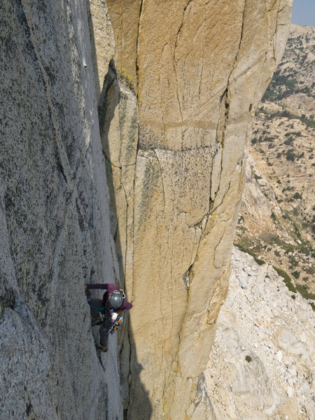 Rock Climbing Photo: Pitch 2 of Crimson Gem as seen from Arch Rival.