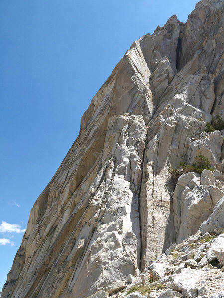 Hidden Agenda starts up the wide crack on the left side of the West Face.
