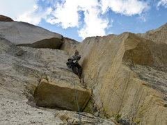 Rock Climbing Photo: Starting up pitch 4 of Crimson Gem towards the Tri...