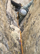 Rock Climbing Photo: Doing what it takes on the second pitch of Irresis...