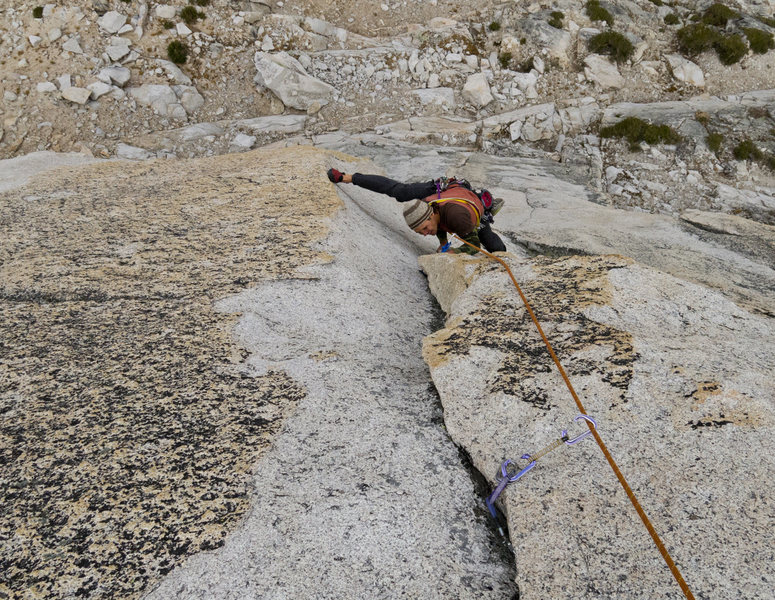 Rock Climbing Photo: The top of pitch 2 of the Beckey Route