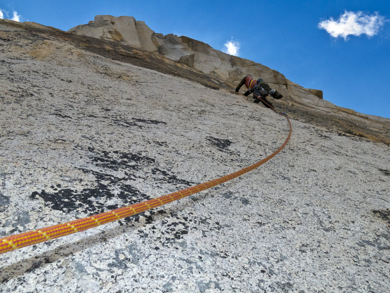 The engaging third pitch of the Beckey Route.