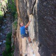 Rock Climbing Photo: Cruxing....  Photo by Nolan Robertson.