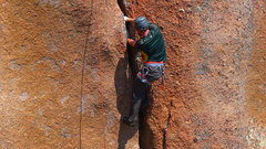 Rock Climbing Photo: Jammin' on Jim Jam (5.9). The crux is the wide par...