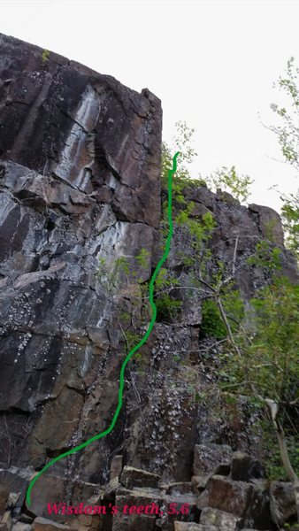 Rock Climbing Photo: There's the route used. Called Wisdom's Teeth beca...