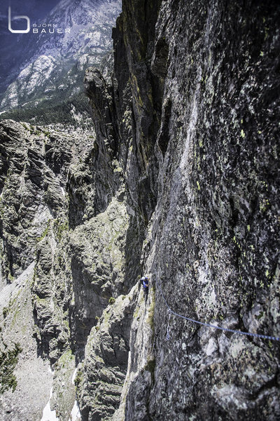 Rock Climbing Photo: Looking down on pitch 6.