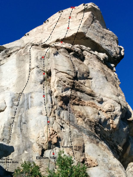 Rock Climbing Photo: Topo of Elohim and surrounding routes
