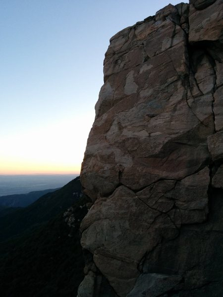 Inner temple wall at sunset. Left most climb is Crimp Tick Combo