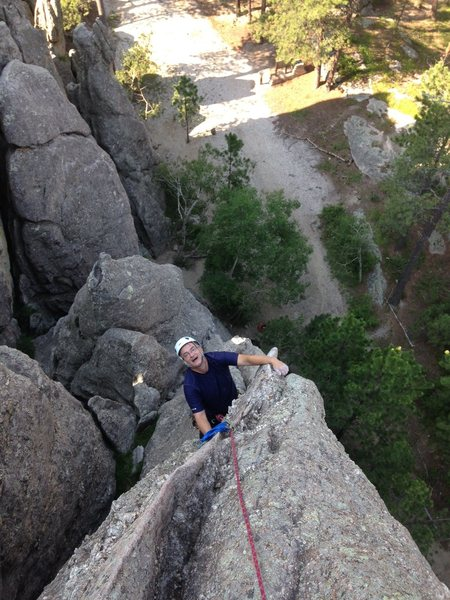 This might very well be the best route at Rushmore under 5.9. A lot of fun. Backpacks give you an idea of how big this one is...