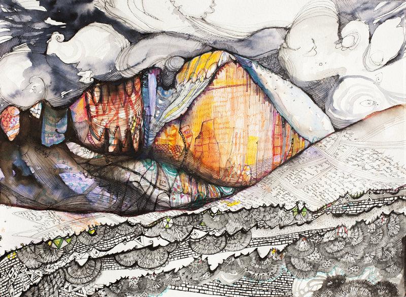 """""""Diamond Dreams"""" - pen/ink/watercolor - 15"""" x 11/5""""<br>"""