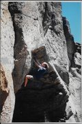 Erik Gearhart soloing Bohemian in 1999.  Psyching up for the crux.