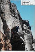 Rock Climbing Photo: Finishing the crux.  Erik Gearhart solo, 1999.