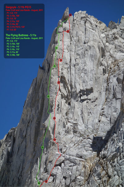 These are the new Croft-Rands routes: <br> <br> Red is the Gargoyle (5.11b)<br> Green is the Flying Buttress (5.11a)