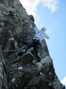 Rock Climbing Photo: Andy Ross pulling the onto the arete below the ste...