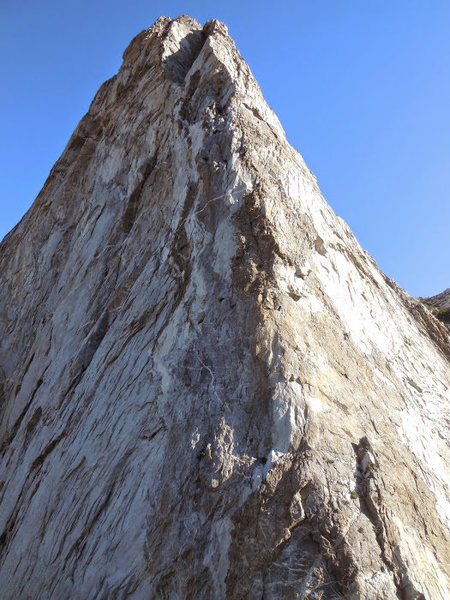 Rock Climbing Photo: The line ascends the right edge of the arete for m...