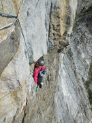 Rock Climbing Photo: Caitlin about to pull the roof on pitch 2. Much ea...