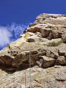 Rock Climbing Photo: Starting the first pitch. Stemming on the arete is...