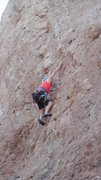 """Rock Climbing Photo: Pam pulling pockets on """"Leather & Lace."""""""