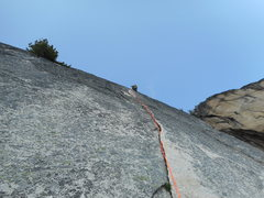 Rock Climbing Photo: Leah Pappajohn nearing the end of pitch 1