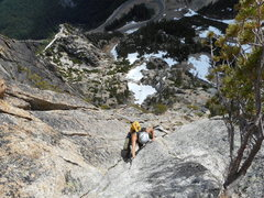 Rock Climbing Photo: Victoria Witrak soloing up to the start of the 5.9...