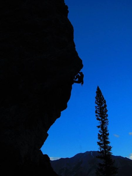 Rock Climbing Photo: Silhouette nearing the top of A Bold New Plan.  On...