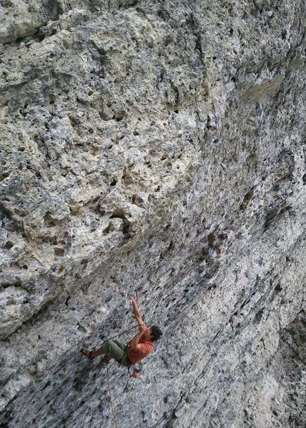 Josh on Choss Toss.  looks similar to every other route on the wall - JUGS! Photo from EE.