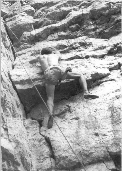 View of a top rope ascent of the Book Right Wall.  Note the ancient Willans Sit Harness.