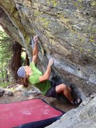 Rock Climbing Photo: The crux reach is made easier by a small intermedi...