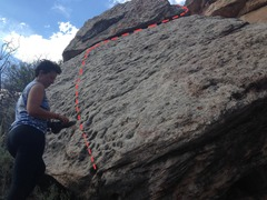 Rock Climbing Photo: Follow the slab up and left until you hit a crack,...