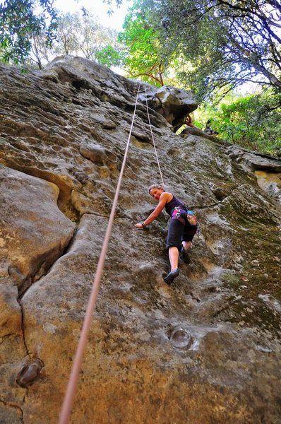 "Kathy Dicker having fun on the ""Balance Sheet"" (5.10a). Photo: B. Morris"