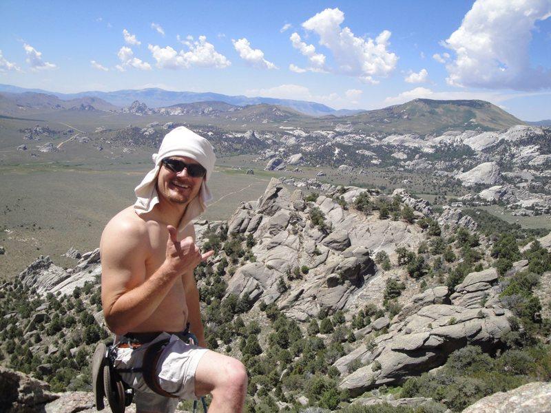 Rock Climbing Photo: Buddy on top of Jackson's Thumb