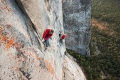 Rock Climbing Photo: The first crux of pitch 14.  Probably mid 5.12 fin...