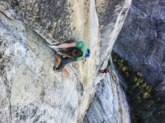 Rock Climbing Photo: Tommy Caldwell on the pumpy layback finish to pitc...